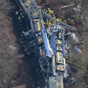 Aerial view of rescue forces working at the site of a train accident near Bad Aibling, Germany