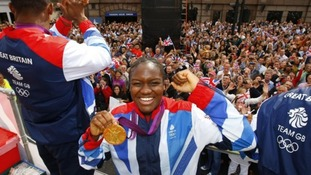 Boxer Nicola Adams enjoys the parade