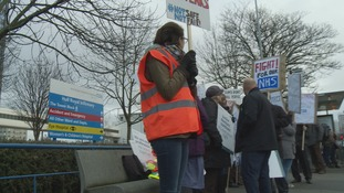 Junior doctors protesting outside Hull Royal Infirmary in January