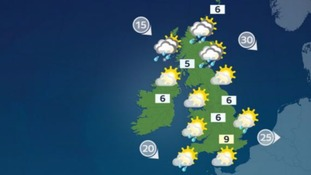 Weather: Largely dry, with the odd shower in places