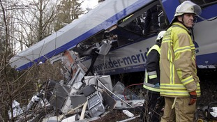The aftermath of the train crash in Bavaria, southern Germany.