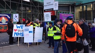 A picket line at the Bristol Royal Infirmary this morning