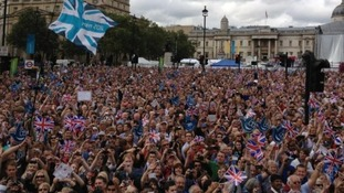 The crowds at Trafalgar Square