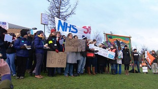 Junior doctors stage their protest outside the Norfolk and Norwich Hospital earlier today.