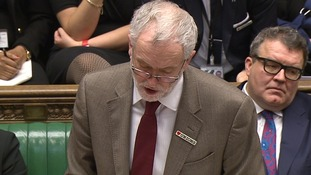 Jeremy Corbyn wears 'heart unions' badge during PMQs