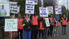 Junior doctors strike in Luton today.