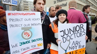 A picket line outside St Thomas' Hospital in London