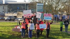 The picket line outside the Royal Derby Hospital.