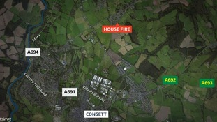 Map showing location of house fire