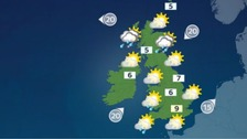 Weather: Largely sunny but cold and with some showers