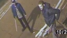 Thugs hunted over vicious attack with wooden stakes.
