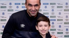 Watch the moment Roberto Martinez hands George Shaw his goal of the month award