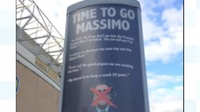 Fans erect 'Time to go Massimo' ad outside Elland Road