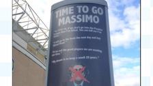 Fans erect 'Time to go Massimo' ad outside Elland Road