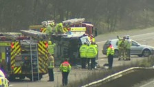 Long delays on M20 after vehicle overturns