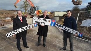 Dave Heyes, Wigan Council, Councillor David Molyneux, Wigan Council, Rob Holcroft, Persimmon Homes on site of the new housing estate