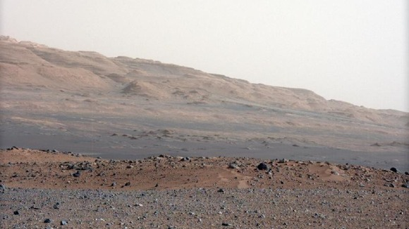 Geological layers at the base of Mount Sharp