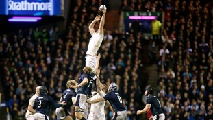 England's George Kruis secring the ball during their away victory at Murrayfield