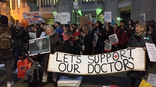 Protesters outside the Department of Health