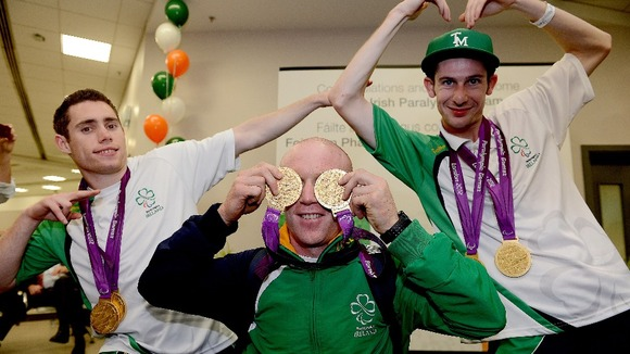 Jason Smyth, Mark Rohan and Michael McKillop at Dublin Airport