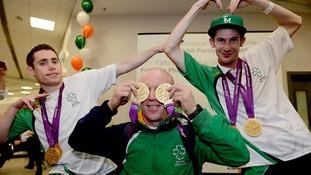 Jason Smyth, Mark Rohan and Michael McKillop at Dublin Airport