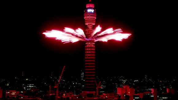 The BT Tower display for Team GB and Paralympics GB