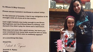 Father's apology note to school for daughter's lateness after Bruce Springsteen concert