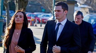 Johnson arriving in court with his girlfriend Stacey Flounders