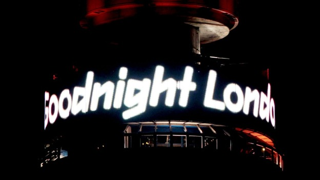 'Goodnight London' is displayed at the top of the BT Tower