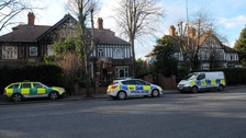 Police outside the property in Grimsby