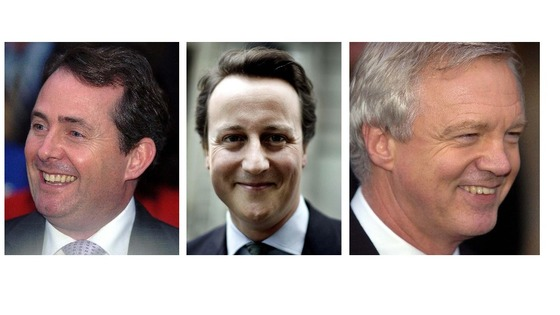 Liam Fox, David Cameron and David Davis