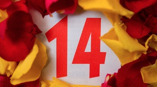 A calendar shows the number 14 surrounded by petals