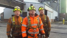 Final trio of miners head down Kellingley pit