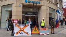 Protesters say they are against Barclays investment in fracking