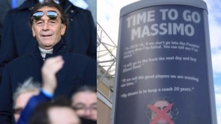 The advert outside Elland Road has been removed after a threat of legal action