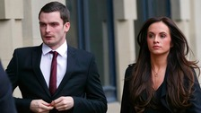 Adam Johnson arrives with partner Stacey Flounders at Bradford Crown Court