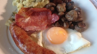 A Gloucester Old Spot sausage breakfast