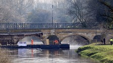 Two halves of Tadcaster rejoined with temporary footbridge
