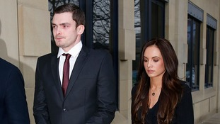 Adam Johnson, 28, arrives with partner Stacey Flounders