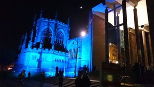 Coventry Cathedral lit up.
