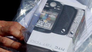 A general view of mobile phones seized by police officers