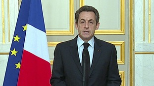 French President Nicolas Sarkozy makes a statement after Mohammed Merah killed during a stand-off with police