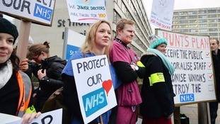 Junior doctors during a recent strike over proposed new contracts.