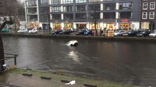 Dramatic car rescue of mother and child from canal