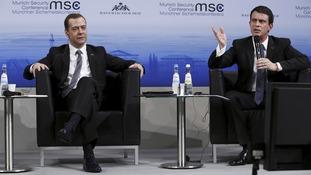 Dmitry Medvedev and  Manuel Valls