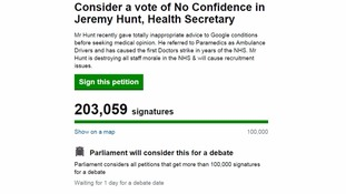 Calls for a vote of 'no confidence in Jeremy Hunt' gathers steam as petition gets more than 200,000 signatures