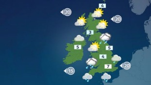 Top temperatures on Sunday will reach 8C (46 F).
