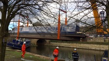 Stranded barges removed for bridge work