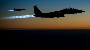 US Air Force F-15E Strike Eagles conducting airstrikes in Syria