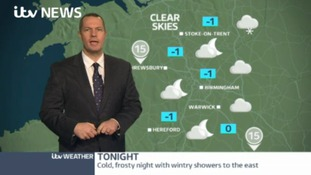 Cold, frosty night with wintry showers